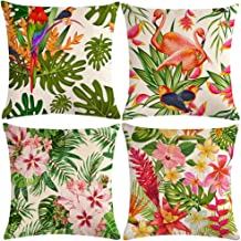 """ULOVE LOVE YOURSELF 4pack Tropical Throw Pillow Covers Tropical Leaves&Flowers with Parrot Flamingo Bird Pattern Home Decorative Cushion Covers 18""""×18"""" Pillowcase (Tropical)"""