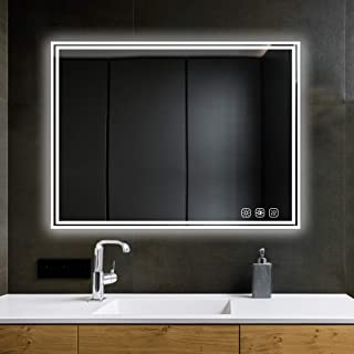 SL4U 48x36 Inch Dimmable Led Lighted Bathroom Mirror, Led Illuminated Wall Mounted Vanity Mirror, Memory Touch Button, Anti-Fog, Vertical & Horizontal, YSJ-A007
