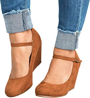 Mafulus Womens Wedge Pumps Round Toe Ankle Strap Buckle Mary Jane Dress Shoes