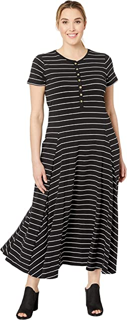 Plus Size Jersey Striped Maxi Dress