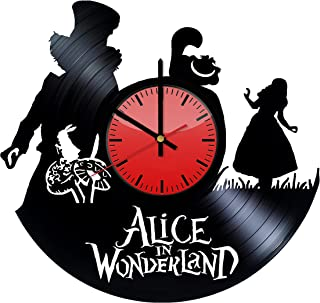 ساعة حائط مطبوع عليها Alice in Wonderland Adventure Film Decor Vinyl - فكرة هدية أصلية له أو لها - ديكور منزلي رائع للحائط