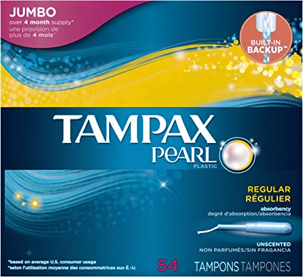 Tampax Pearl Plastic, Regular Absorbency Unscented Tampons, 54 Count