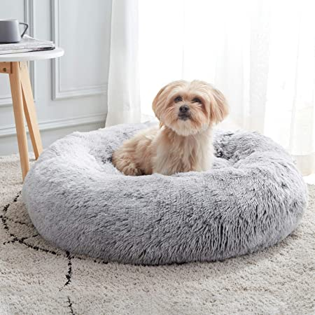 """Calming Dog Bed & Cat Bed, Anti-Anxiety Donut Dog Cuddler Bed, Warming Cozy Soft Dog Round Bed, Fluffy Faux Fur Plush Pet Dog Cat Cushion Bed for Small Medium Dogs and Cats (20""""/24""""/27"""")"""