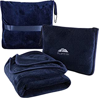 BlueHills Premium Soft Travel Blanket Pillow Airplane Blanket Packed in Soft Bag Pillowcase with Hand Luggage Belt and Bac...