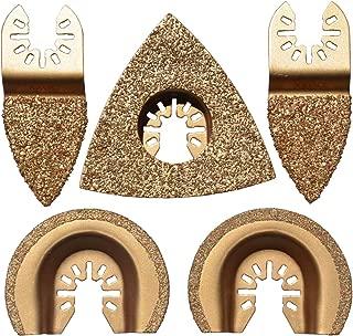 XXGO 5 Pcs Mixed Triangular Semicircle Finger Oscillating Tool Blades Carbide Fits Multi-Tools XG8506