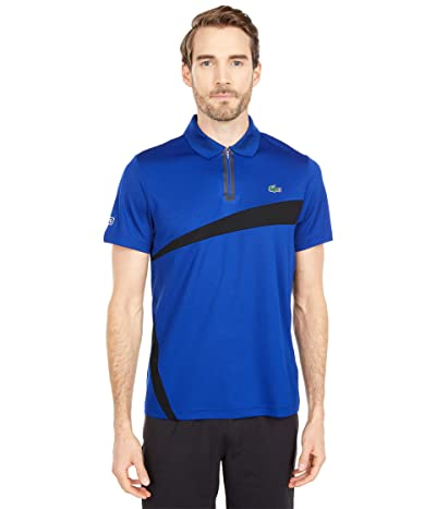Lacoste Short Sleeve Zipper Placket Color-Block Polo (Prussian Blue/Black) Men
