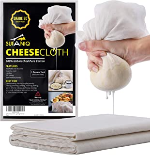 Sufaniq Cheesecloth Grade 90-9 Square Feet Unbleached 100% Cotton Fabric Ultra Fine Reusable Cheese Cloths for Cooking Str...