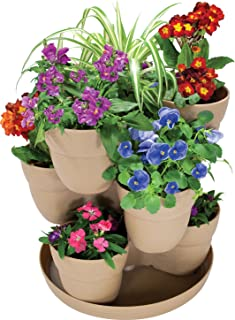 EMSCO Bloomers Stackable Flower Tower Planter – Holds up to 9 Plants – Great Both..