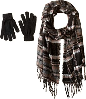 Women's Plaid Boucle Blanekt Wrap with Etouch Glove Set