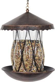 Exhart Solar Bronze Bird Feeder - Hanging Bird Feeder in Bronze Metal Cage & Diamond Glass Design with Solar LED Lights - Garden Art Glass Bird Feeder, Solar Bird Feeder, 9