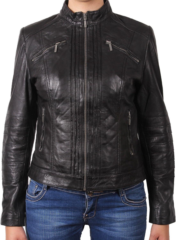 Brandslock Womens Ladies Real Leather Biker Motorcycle Jacket