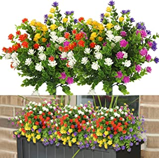 Linkstyle 10 Bundles Artificial Flowers Outdoor Fake Flowers for Home Decoration, UV Resistant Faux Plastic Greenery Shrub...