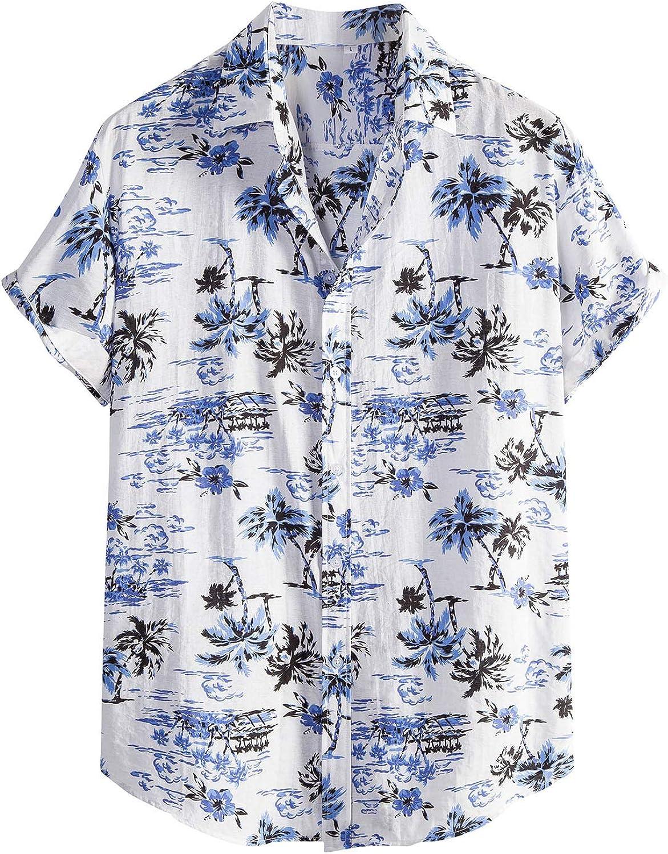 Funny Hawaiian Shirts for Men Regular Fit Short Sleeve Beach Shirt Summer Casual Floral Button Up Shirts
