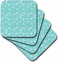 3dRose cst_192780_3 Chic Aqua Abstract Sparkling Squares-Ceramic Tile Coasters, Set of 4