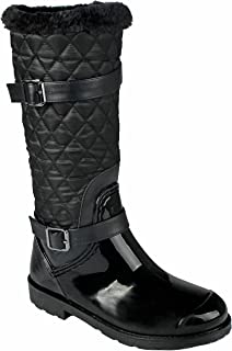 JJF Shoes Women Fashion Lace-Up Faux Fur-Lined Side Zip Buckle Winter Rain Ankle Boots