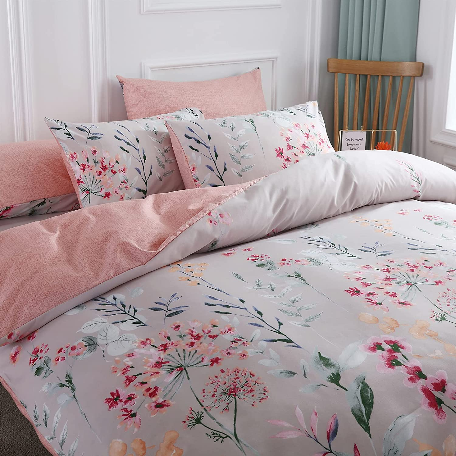 ESOVIO Botanical Leaves Pink Reversible Floral Co Duvet Fixed price for sale Charlotte Mall Colorful
