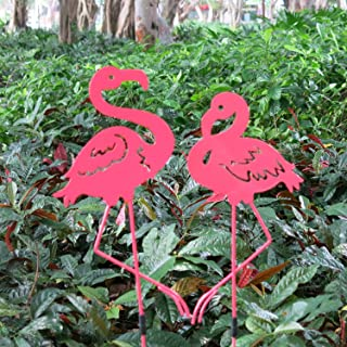Cinda electronics Pink Flamingos Garden Outdoor and Indoor Statues Tall Metal Yard Art Pink Flamingo Lawn Ornaments Yard Party Decorations (Pink1)