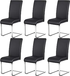 Yaheetech Lot de 6 Chaises de Salle à Manger en Simili cuir Capacité 135 kg Hauteur Assise Rembourré 50cm Noir