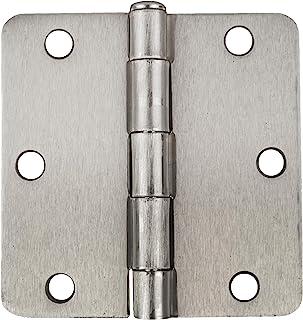 Global Door Controls 3.5 in. x 3.5 in. Satin Nickel Full Mortise Plain Bearing Hinge with 1/4 in. Radius - Set of 2
