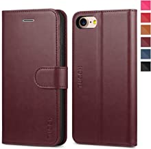 TUCCH iPhone 8 Case, iPhone 7 Wallet Case, Premium PU Leather Flip Folio Wallet Case with Card Slot, Stand Holder and Magnetic Closure [TPU Interior Case] Compatible with iPhone 7/8, Wine Red