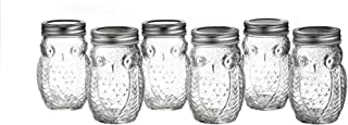 Style Setter 206242-6GBS Owl Glass Jars with Lids (Set of 6), Clear