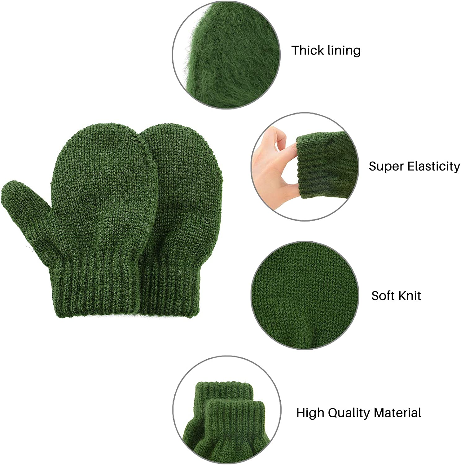 Kids Winter Toddler Mittens Multicolor Soft Knitted Gloves Thick Cold Protection Mitten Color Set 4