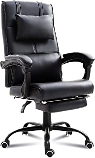 windaze Executive Office Chair Ergonomic Leather Reclining Swivel Chair with Retractable Footrest and Padded Headrest(Black)
