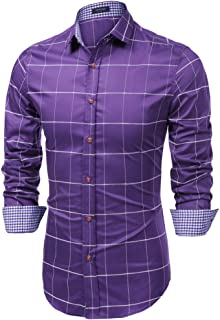 COOFANDY Men's Fashion Long Sleeve Plaid Button Down Shirts Casual Dress Shirt