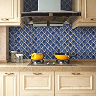 "VANCORE 3D Mosaic Sticker Home Decor Backsplash Wallpaper Bathroom Kitchen DIY Plain Design 20x500cm/7.87x197"" Roll (Blue)"