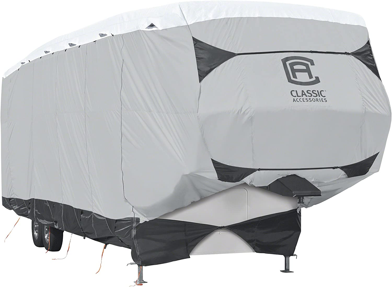 Classic Accessories Over Drive SkyShield Deluxe 5th Wheel Trailer Cover, Fits 41' - 44' Trailers - Water Repellent RV Cover (80-367-102001-EX)