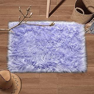 YJ.GWL Super Soft Faux Fur Area Rug (2'x3') for Bedroom Sofa Living Room Fluffy Bedside Rugs Home Decor,Light Purple Rectangle