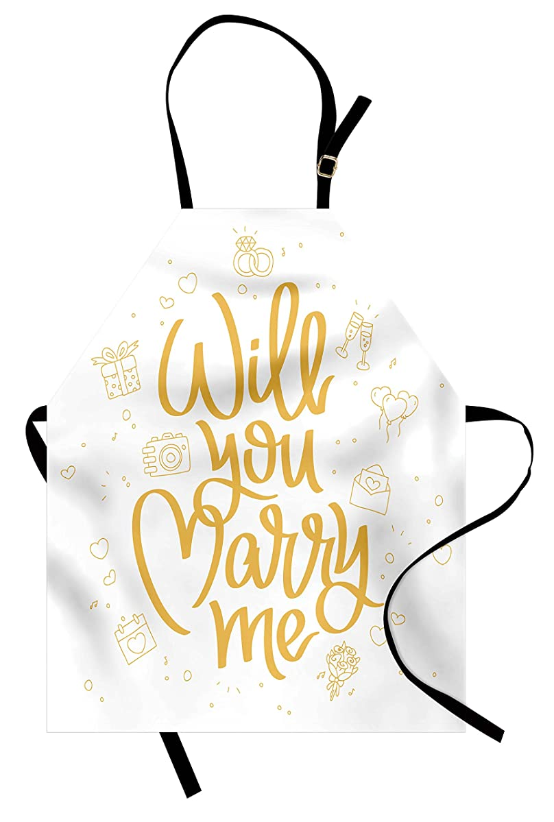 Lunarable You and Me Apron, Will You Marry Me Calligraphy with Gift Boxes Wedding Engagement Doodle Artsy, Unisex Kitchen Bib Apron with Adjustable Neck for Cooking Baking Gardening, Apricot White