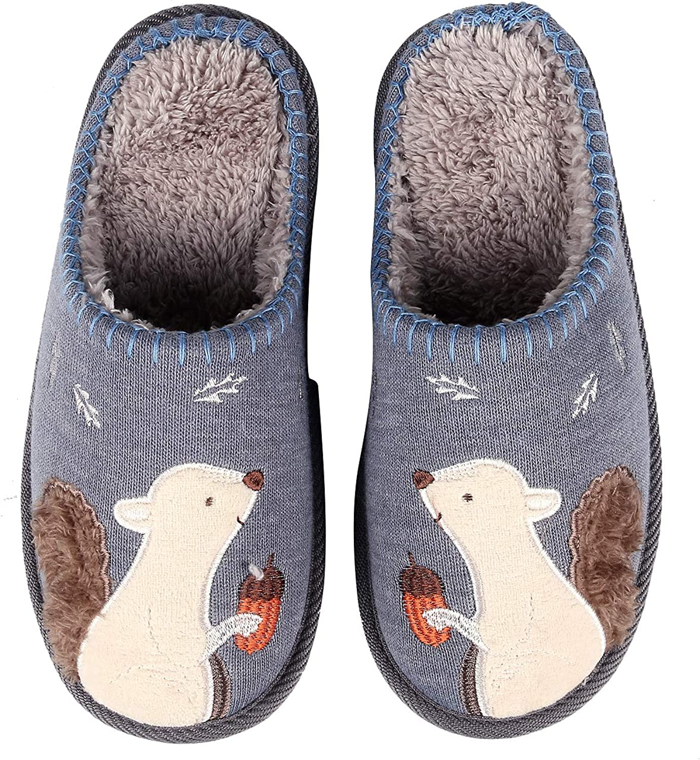 Shevalues Animal Memory Foam House Slippers Cute Squirrel Indoor Slippers w Soft Waterproof Sole Fuzzy Clog Slippers
