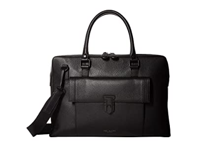 Ted Baker Shomo Colored Leather Document Bag (Black) Briefcase Bags