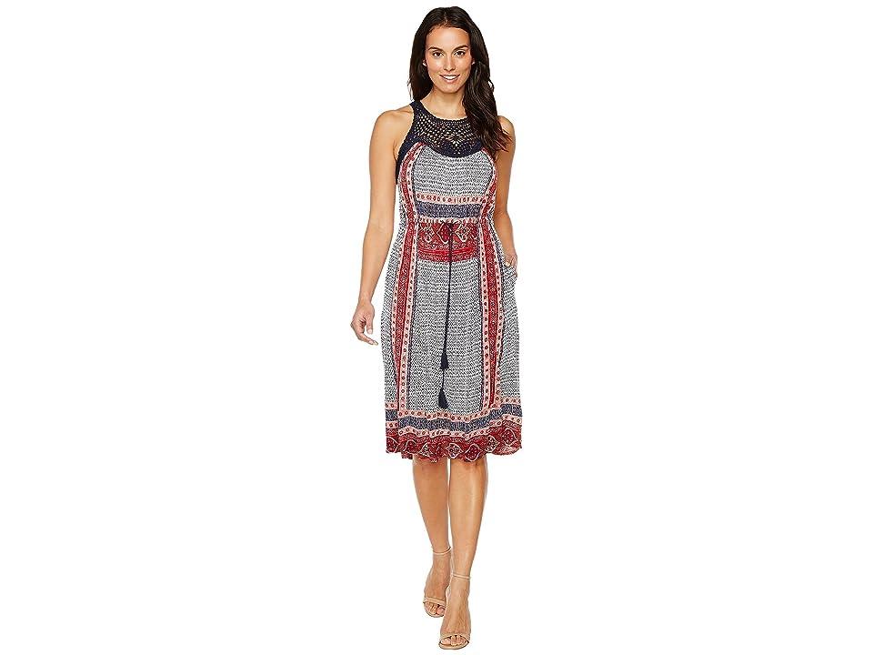 Lucky Brand Knit Macrame Dress (Red Multi) Women