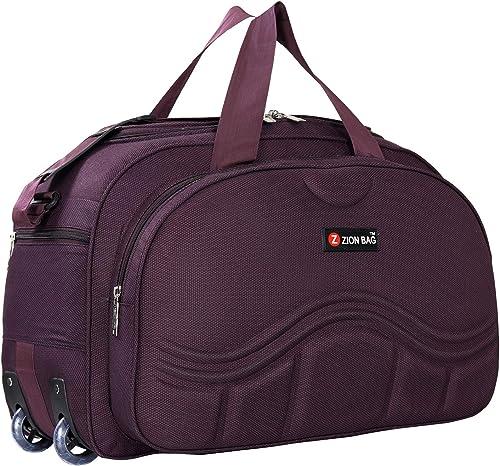 Waterproof Polyester Lightweight 60 L Luggage Purple Travel Duffel Bag With 2 Wheels