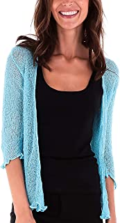 Womens Sheer Shrug Tie Top Cardigan Lightweight Knit One Size 2-12