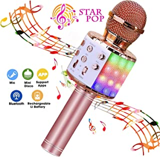 BlueFire Wireless 4 in 1 Bluetooth Karaoke Microphone with LED Lights, Portable..