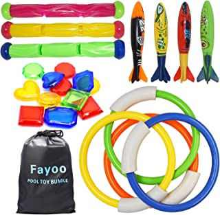 Fayoo 23 Pack Underwater Swimming/Diving Pool Toys Diving Rings(4 Pcs), Toypedo Bandits(4 Pcs), Diving Sticks(3 Pcs) with ...
