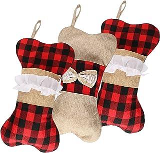 BRIDA 3 Pieces Pet Dog Christmas Stockings 18 inch Xmas Stockings Buffalo Plaid Large Bone Shape Pets Stockings for Dogs C...