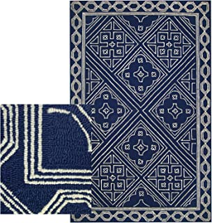 Stain Resistant Rug 5x7- Blue & White Hand Hooked Soft Indoor Outdoor Area Rugs - Easy to Clean Carpet - Boho Transitional Rugs for Living Room, Patios, Kids & Pets