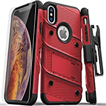 ZIZO Bolt Series iPhone Xs Max case Military Grade Drop Tested with Tempered Glass Screen Protector, Holster, Kickstand RED Black