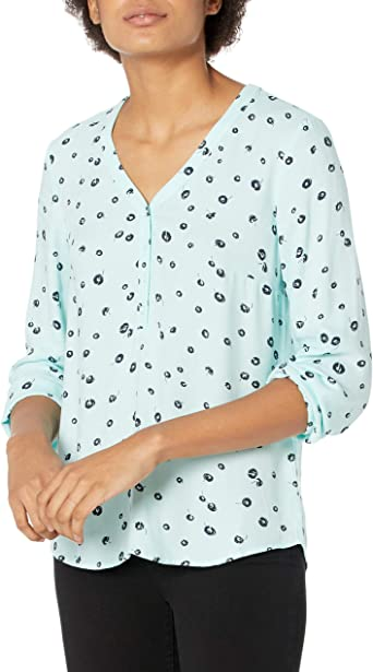 Amazon Essentials Camisa de Manga 3/4 con Botones Mujer