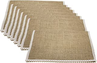 FiveRen Jute Burlap Placemat, Super Value Hand Made Ladder Lace Look Placemat & One of Life's Little Home Luxuries, 15.75