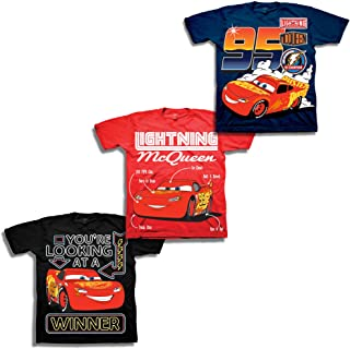 قميص للأولاد من ديزني مطبوع عليه سيارة لايتنينج مكوين - 3 قطع تيشيرتات لايتنينج مكوين