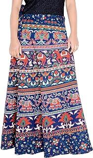 Rajvila Women's Cotton Printed 38 Inch Length Regular Wrap Around Long Skirt(F_W38NT_0006)