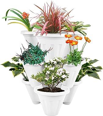 POTS4NATURE Garden Stacking Vertical Plastic 3 Tier Indoor/Outdoor Gardening Tower Planter Pot for Fresh Herbs, Vegetable, Fl