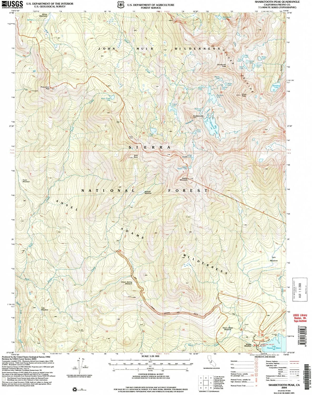 Sharktooth Peak CA topo map, 1 24000 Scale, 7.5 X 7.5 Minute, Historical, 2004, Updated 2007, 26.8 x 22 in
