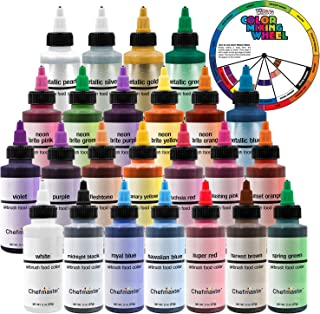 U.S. Cake Supply by Chefmaster Deluxe 24 Color Airbrush Cake Color Set - 2 fl. oz. Bottles & Bonus Color Mixing Wheel