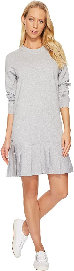 Lacoste - Crepe Non Brushed Fleece Sweater Dress w/ Pleated Bottom